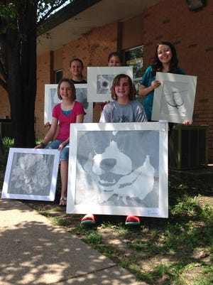 Flippin Middle School art students who recently had artwork chosen for the Northwest Regional Youth Art Show in Fayetteville are: front row, from left, Kaylee Warren and Brenna Metts; back row, Hope Rackley, Kyra Joiner and Daphne Martin.