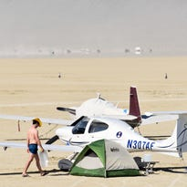 Burning Man's pop-up airport rises from the dust