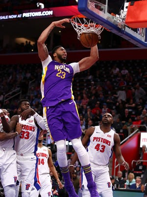 Pelicans forward Anthony Davis dunks against the Pistons during the first half at Little Caesars Arena on Feb. 12, 2018.