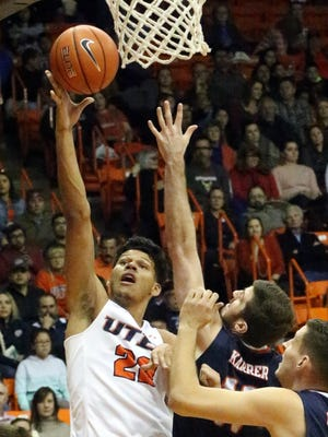 UTEP's Paul Thomas drives for a layup against UTSA earlier this sesaon  in the Don Haskins Center,