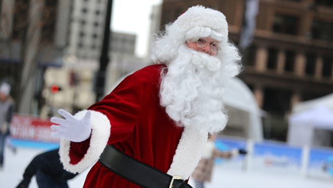 Santa takes to the ice at the U.S. Bank Ice Rink on Fountain Square.