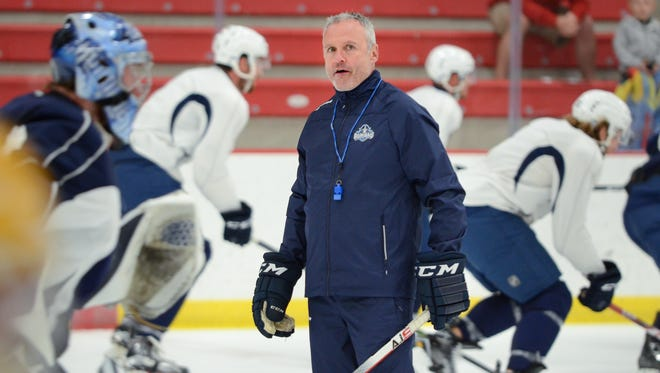 Sixth-year coach Dean Evason leads practice on the first day of Milwaukee Admirals training camp Tuesday at the Kern Center on the MSOE campus.