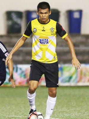 Takumi Ito, shown here wearing his Napa Rovers FC uniform, was voted Most Valuable Player in the IIAAG All-Island Boys Soccer League while leading the John F. Kennedy Islanders to a 9-1 record and first place after the regular season.