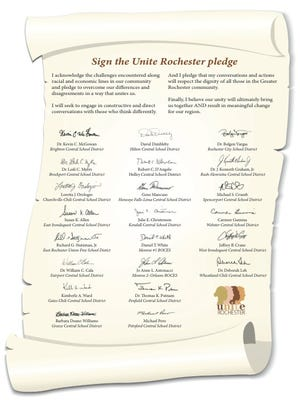 The pledge signed by area school superintendents.