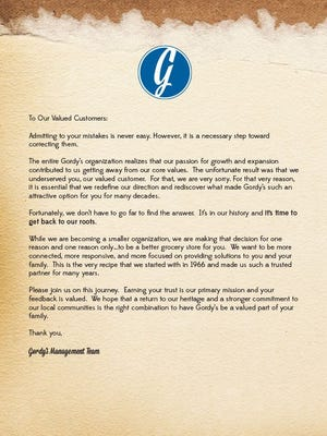 Gordy's Market sent this letter to customers via Facebook.