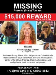 Susy Tomassi's family has increased the reward amount