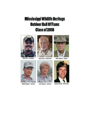 Billy Ellis, of Lexington; Albert Paul, of Collinsville; Mike Stewart, of Oxford; Rabbit and Jane Rogers, of Jackson and Bobby Woods, of Glen Allan are the Outdoor Hall of Fame inductees in the Class of 2018.