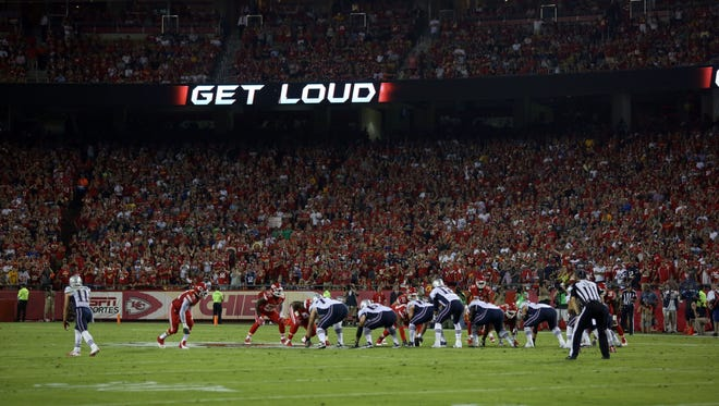 A ribbon board around Arrowhead Stadium encourages fans to get loud during the second quarter of the Kansas City Chiefs' game against the New England Patriots.