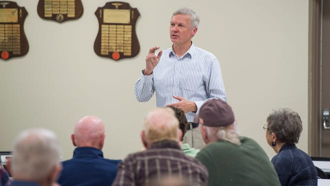 Art Halvorson speaks to audience members inside the Mont Alto Fire Department Hall on Thursday, March 31, 2016.