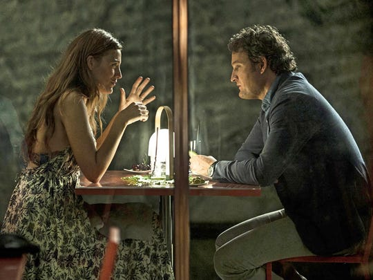 "In ""All I See Is You,"" James (Jason Clarke) and Gina (Blake Lively) discuss a problem."