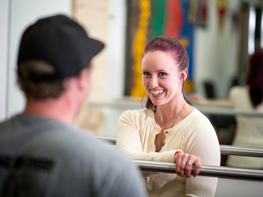 Taylor Fiddyment, who broken her back during a ATV accident, works out at the C.R. Johnson Healing Center in Truckee.