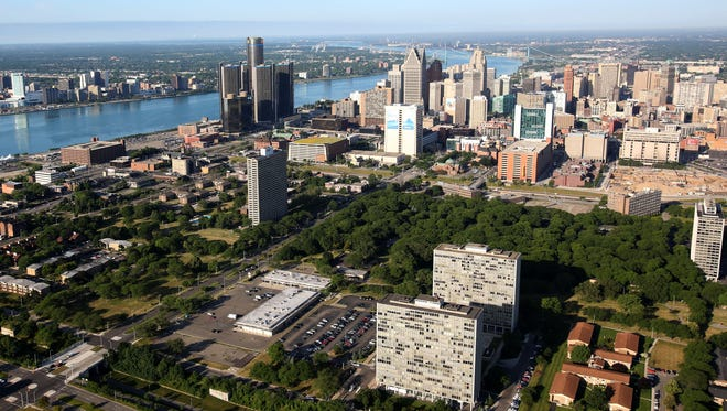 Aerial view of Lafayette Park, in downtown Detroit.