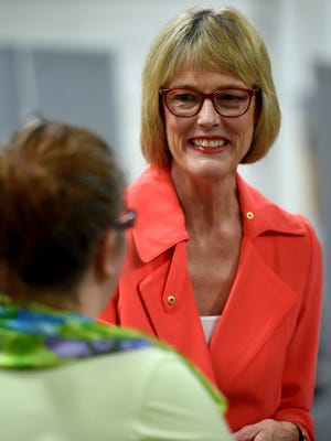 Lt. Gov. Suzanne Crouch talks to guests during the annual Wayne County Urban Rural dinner Tuesday, March 28, 2017 at the Kuhlman Center on the Wayne County Fairgrounds in Richmond.