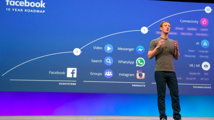 Facebook CEO Mark Zuckerberg speaks on a stage at a conference