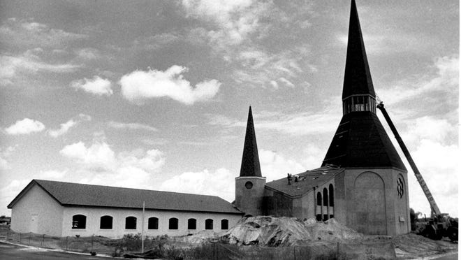 This 1990 photo shows the construction of the Presbyterian church on Immokalee Road in North Naples.