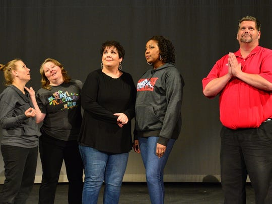 "Sister Mary Robert (Melissa Williams), Sister Mary Patrick (Melissa Zamzow), Mother Superior (Nancy Brasfield), Deloris Van Cartier (Mineasa Nesbit) and Monsignor O'Hara (David Conrady), from left, look for divine inspiration in ""Sister Act The Musical,"" which is playing through March at the Wichita Theatre."