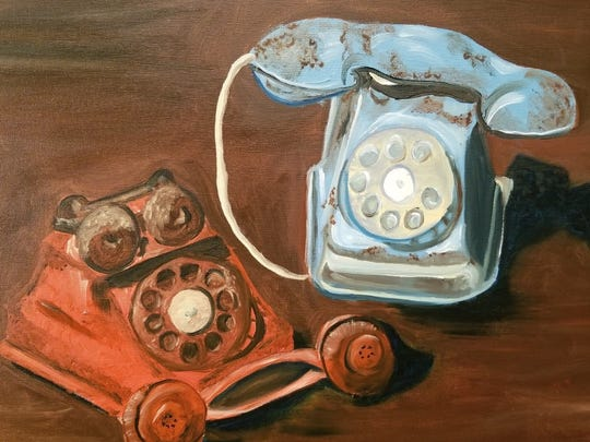 "The painting ""Party Line"" is by Karen Fisher, the Muncie Artists Guild's Featured Artist for October 2017."