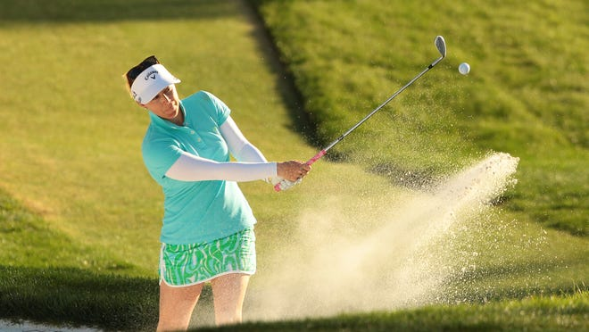 Morgan Pressel hits out of a bunker on seventeen during the 3rd round of the ANA Inspiration at Mission Hills Country Club in Rancho Mirage on Saturday.