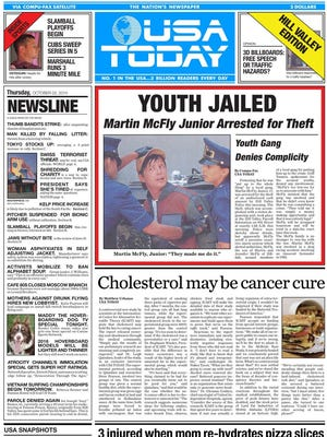 A replica of the 'Back to the Future II' USA Today paper.