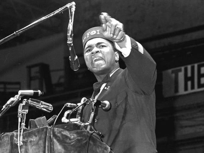 Muhammad Ali addresses a gathering at a Black Muslim