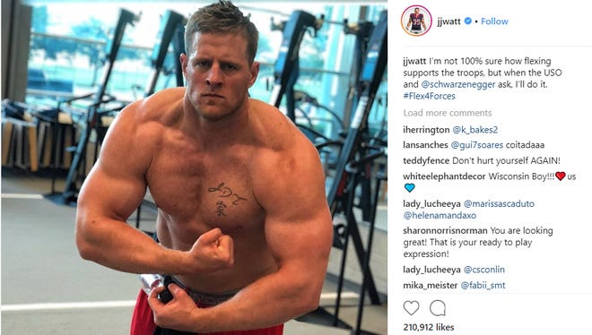 J.J. Watt participated in the #Flex4Forces campaign, at the request of Arnold Schwarzenegger.