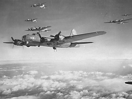 B-17 Bomber group in formation, ca. 1944-1945