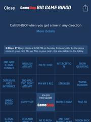 A screenshot of FanDuel's Super Bowl bingo card.