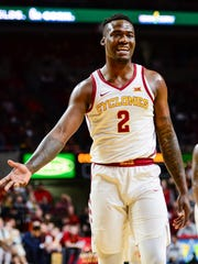 Iowa State forward Cameron Lard (2) reacts to a call during the second half against the Oklahoma State at Hilton Coliseum in Ames on Tuesday, Feb. 27, 2018.