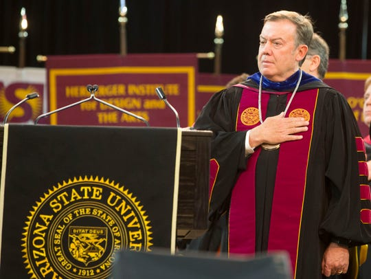 Arizona State University President Michael Crow speaks