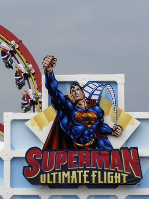 2003: The Superman Ultimate Flight rollercoaster is shown in action at Six Flags Great Adventure.