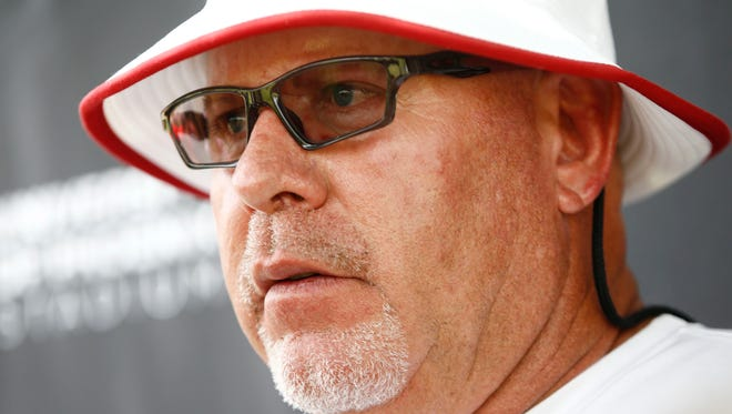 Arizona Cardinals coach Bruce Arians comments on the 1-year suspension of teammate Daryl Washington following OTA (organized team activities) on June 2, 2014, at the Cardinals training facility in Tempe.