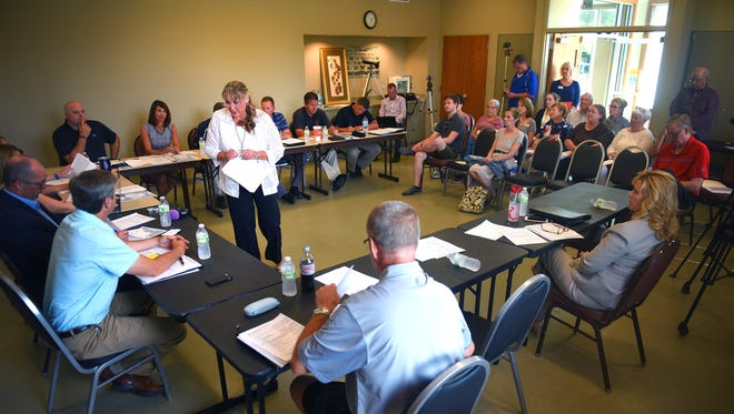 Councilor Theresa Stehly speaks to Sioux Falls Parks and Recreation board members Tuesday, July 18, at the Mary Jo Wegner Arboretum.