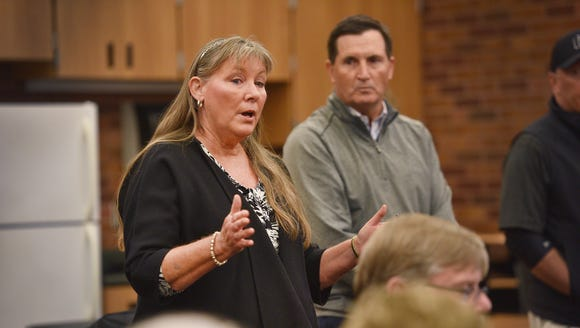 City councilor Theresa Stehly speaks during the management contract announcement Oct. 18 at the downtown library.