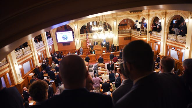 Governor Dennis Daugaard holds the annual budget address Tuesday, Dec. 5, at the South Dakota State Capitol in Pierre.