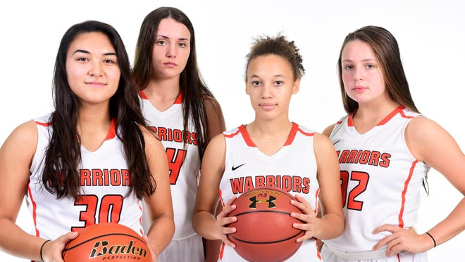 Washignton's Taylor VanderVelde, Lily Bartling, Jada Cunningham and Peyton Rymerson (left to right) pose for a portrait on Dec. 2, 2017.