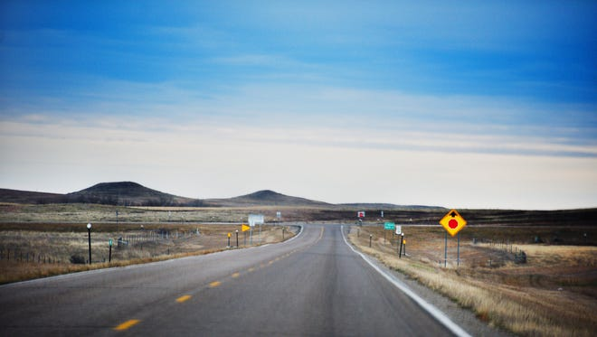 Road to He Dog Elementary School Tuesday, Nov. 14, in Todd County, South Dakota.