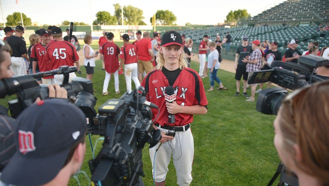 Brandon Valley's Dylan Kirkeby gives interviews after the win against Pierre in the Class A state high school baseball championship Saturday, May 26, at Sioux Falls Stadium.