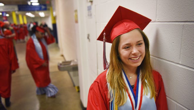 Lincoln High School student Damian Marlow talks about her experiences leading up to graduation, Sunday, June 3, at the Sioux Falls Arena.