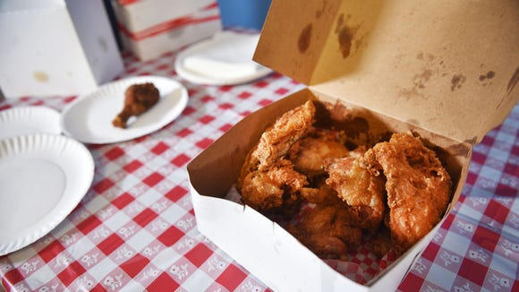 The Keg Chicken Tuesday, July 17, at the newsroom in Sioux Falls. Food and Entertainment Reporter Alexa Giebink plated fried chicken for the Argus Leader fried chicken taste test.