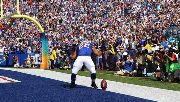 File photo: Fred Jackson celebrates a touchdown against