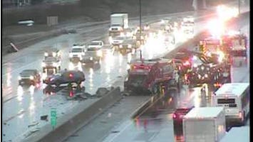 Crews clear a crash at about 7:45 a.m. Friday morning at I-75 near Caniff near Hamtramck.