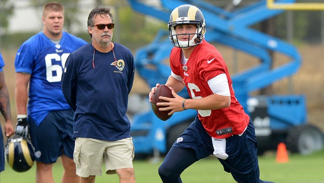 Rams coach Jeff Fisher, left, and rookie QB Jared Goff can't wait long to win in L.A.