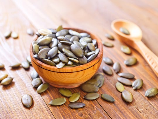 Pumpkin seeds contain magnesium.