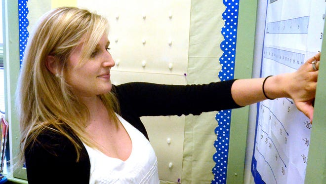 In this file photo, Valley View Elementary second-grade teacher Kayla Ichter hangs a number chart in her classroom Wednesday, Aug. 13, 2014, while preparing her room for the first day of school. file photo