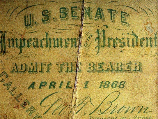Ticket were issued for the April 1, 1868, impeachment