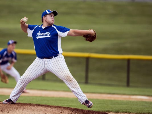 Annville's Colton Long delivers a pitch during his complete game victory over Richland at Lyle Krall Field on Wednesday.