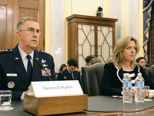 Secretary of the Air Force Deborah Lee James and Gen. John E. Hyten, commander, Air Force Space Command, testify before the Senate Armed Services Committee, Subcommittee on Strategic Forces in Washington, D.C., April 29.  James stated during the hearing that space-based capabilities and effects are vital to U.S. warfighting, homeland security, and our way of life.   James and Hyten testified also with Cristina T. Chaplain, director, Acquisition and Sourcing Management Government Accountability Office.
