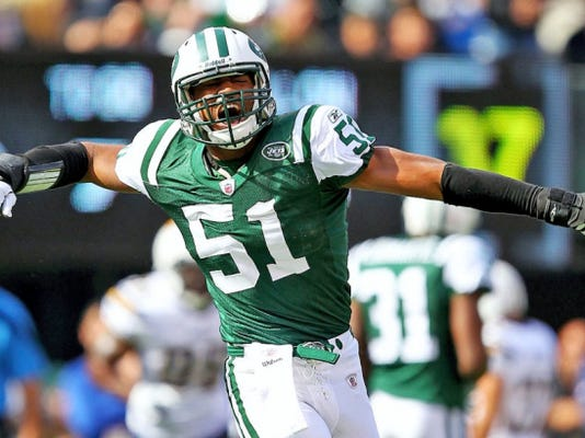 Former Penn State standout Aaron Maybin is seen here celebrating during his brief NFL career.