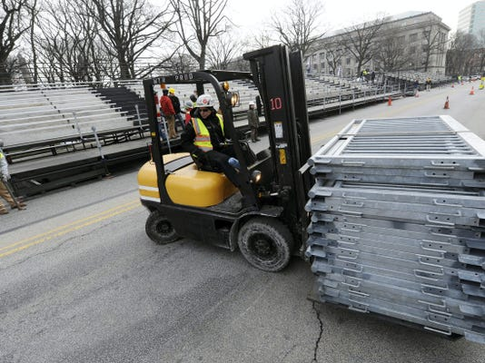 On Friday, crews in Harrisburg were preparing for the crowds that will attend the inauguration of Gov.-elect Tom Wolf.