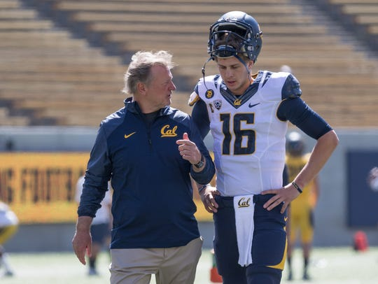 Former Cal offensive coordinator Tony Franklin, left, now MTSU's offensive coordinator, coached Rams quarterback Jared Goff for his three seasons at Cal. Goff will be playing in Super Bowl LIII on Sunday.